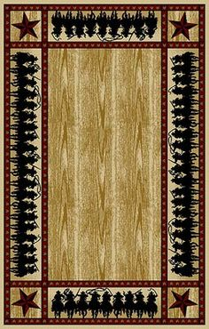 The Border Posse rugs features several posses of cowboys riding hard with western star accents in the corners. This rug has a extremely soft finish and a plush 10mm high pile height that will provide years of warmth and softness underfoot.
