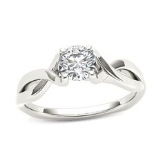 1/2+CT.+Diamond+Solitaire+Twist+Shank+Engagement+Ring+in+14K+White+Gold