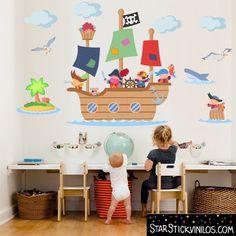 Gran barco pirata - Vinilos infantiles Ceiling Murals, Wall Murals, Bedroom Murals, Kids Bedroom, Murals For Kids, Nursery, Kids Rugs, Ideas Originales, Home Decor