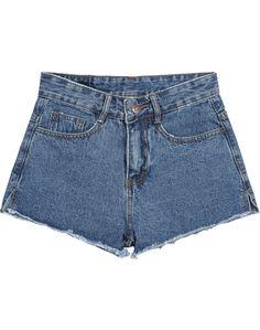 Navy Pockets Fringe Denim Shorts 13.67