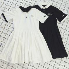 Day/Night White/Black One-Piece Casual Collor Dress Pollo SD01649
