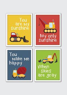 Construction Nursery Art, Construction Room Decor, Boys Construction Nursery, Roller, Cement Truck, Crane, Dump Truck, Excavator, Bulldozer