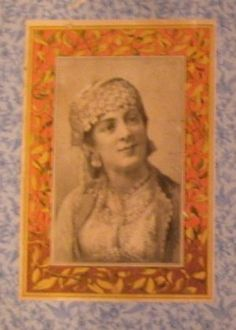 Antique Trunk Picture Inside Lid, Lady