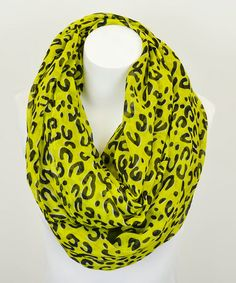 This Neon Yellow & Black Leopard Print Infinity Scarf by Leto Collection is perfect! #zulilyfinds