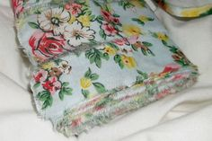 Hand Torn Vintage Ribbon  blue floral  12 yards by finders4keepers, $10.75