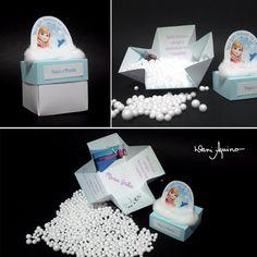 """Convite com """"flocos de neve"""" (isopor) :: Tema Frozen"""