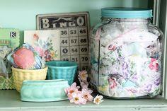 vintage containers, vintage hankies, great colors: Meadowbrook Farm...I like the hankies in the jar! Find vintage hankies here: http://www.nanaluluslinensandhandkerchiefs.com/