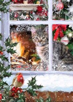 weihnachten bilder Tabby Cat 2 by The Macneil Studio Framed Art - Multi Christmas Scenes, Noel Christmas, Christmas Animals, Vintage Christmas Cards, Christmas Cats, Christmas Pictures, Christmas Greetings, All Things Christmas, Winter Christmas