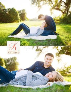 Laying down maternity with husband poses.    Photo: Photography by Kamice