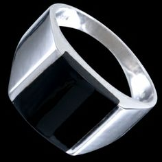 Silver ring, seal ring Silver ring, Ag 925/1000 - sterling silver. Classic timeless men's seal-ring. The seal is made from black onyx. Rhodium-plated. Height at the place of pattern approx. 12mm, gradually narrows towards to the back up to approx. 2.5mm.