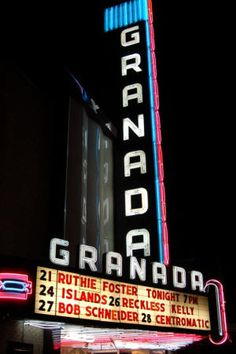 My favorite venue in Dallas. The Granada Theater opened in during the Golden Age of Hollywood. The Granada is a classic example of the Art Deco era. Priscilla Queen, Only In Texas, Old Signs, Art Deco Era, Googie, Golden Age Of Hollywood, Neon Lighting, Vintage Movies, Granada