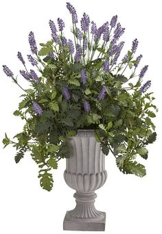 Nearly Natural 35 Lavender and Dusty Miller Artificial Plant in Urn