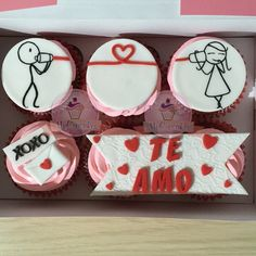 Cupcakes de amor. Cupcakes con mensajes. Cupcakes te amo