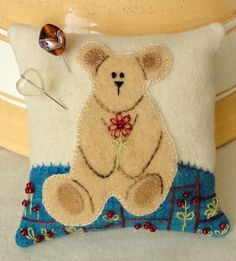 Sweet Little Bear Pincushion Pattern SFP-24 by Sunflower Fields Pattern Co. - Elizabeth Ann Angus. Adorable wool pincushion pattern.