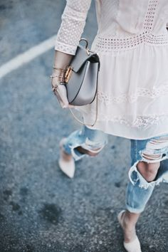 white blouse + ripped jeans