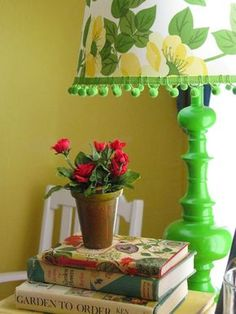Gorgeous green painted lamp and floral shade