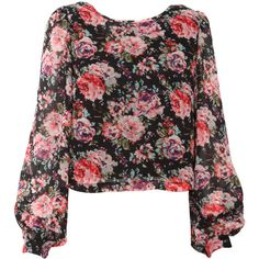 Rose Print Chiffon Blouse ($19) ❤ liked on Polyvore featuring tops, blouses, shirts, blusas, long sleeves, floral print shirt, floral blouse, floral shirt, pink long sleeve shirt and long sleeve blouse