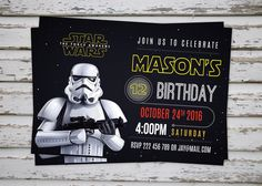 A personal favourite from my Etsy shop https://www.etsy.com/ie/listing/267665340/star-wars-invitation-darth-vader-party