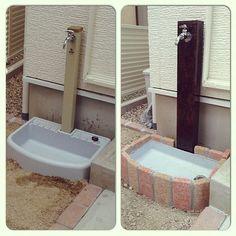 DIY/レンガ/途中経過/立水栓/DIY立水栓のインテリア実例 - 2014-04-05 00:18:10 | RoomClip (ルームクリップ)