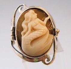 Mermaid Cameo Poison Locket Ring Sterling by BrightEyesTreasures, $119.00