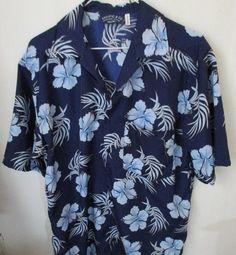 Pacific & Co. Men's M Short Sleeve Hawaiian Style Shirt NavyBlue  #PacificCo #Hawaiian