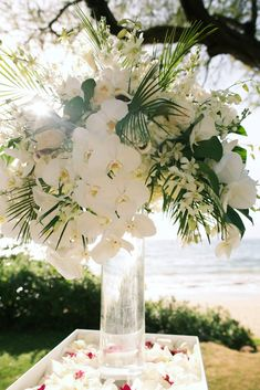 White orchid and greenery outdoor wedding flowers - Andaz Maui -Country Bouquets Maui - Anna Kim Photography