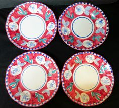 "4 Solimene Vietri Signed Red Pesce Fish 8"" Folk Art Pottery Soup Salad Plates #SolimeneVietri"