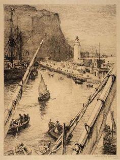 'Loading Lemons, Palermo', by Gabrielle de Vaux Clements.  1858-1948    Etching