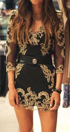 Gold night club dress. Aura lovers