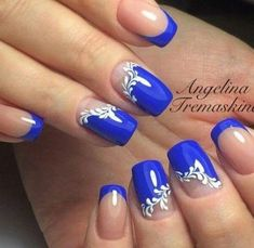 Hey there lovers of nail art! In this post we are going to share with you some Magnificent Nail Art Designs that are going to catch your eye and that you will want to copy for sure. Nail art is gaining more… Read Blue Nail Designs, French Nail Designs, Acrylic Nail Designs, Acrylic Nails, French Manicure With Design, Blue Nails With Design, Blue Design, Hair And Nails, My Nails