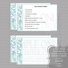 Editable and Printable - 4 x 6 Blue Damask Recipe Cards - (2) PDF Files   From Delightful Order
