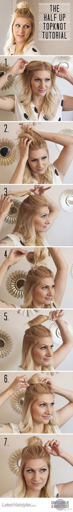 Cool and Easy DIY Hairstyles - The Half Up Top Knot - Quick and Easy Ideas for Back to School Styles for Medium, Short and Long Hair - Fun Tips and Best Step by Step Tutorials for Teens, Prom, Weddings, Special Occasions and Work. Up dos, Braids, Top Knots and Buns, Super Summer Looks diyprojectsfortee...