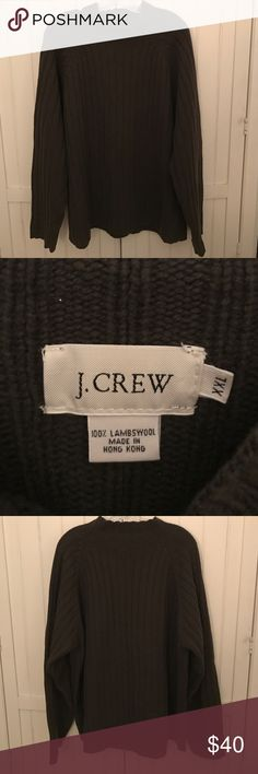 REDUCED! Men's J. Crew Sweater Olive green Men's J Crew wide ribbed wool sweater. Stand up collar neckline, size XXL an 100% lambswool. There is some pilling from previous wear, but overall good condition. J. Crew Sweaters Turtleneck