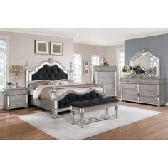 Shop for Silver Orchid Beaudet Glam Grey Bedroom Set. Get free delivery On EVERYTHING* Overstock - Your Online Furniture Shop! Get in rewards with Club O! 5 Piece Bedroom Set, Bedroom Sets, Master Bedroom, Bedroom Fan, Bedroom Simple, King Bedroom, Trendy Bedroom, Master Suite, Quality Furniture