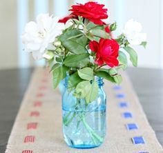 Uses for Mason Jars | Flower vase | From Domestically Speaking Blog