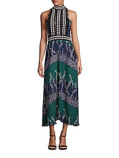 Lacing-Detail Printed Jacquard A-Line Dress 30th Birthday Dresses, Event Dresses, Embroidery Dress, Embroidered Lace, Dress Brands, Trellis, Summer Dresses, Clothes For Women, Fashion Design