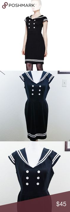 Hell Bunny Vixen Black and White Sailor Dress Hell Bunny Vixen Black and White Rockabilly Sailor Dress. Sz Large. New with tag and replacement buttons. There are slight stains on the lapel but barely noticable. Great condition. No rips. Cute for any occasion.   Length 35in Chest flatlay 18in Waist flatlay 15in Slit 6in Oz 1lbs #176  Offers Welcomed Ships in 1-3 days Bundle for a discount Hell Bunny Vixen Dresses Midi