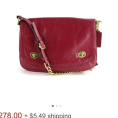 """NWT authentic COACH """"Double Gusset"""" New with tags, beautiful dark fuchsia/maroon purse with gold chain. In perfect like new condition. Comes with tag, care instruction card, and dust bag. Treat yourself or others to a gorgeous summer purse! Coach Bags Shoulder Bags"""