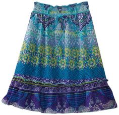 Amy Byer Girls 7-16 Print Chiffon Bottom Ruffle Skirt, Blue, Medium. From #Amy Byer. List Price: $36.00. Price: $19.39