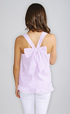 emma seersucker bow top - lavender