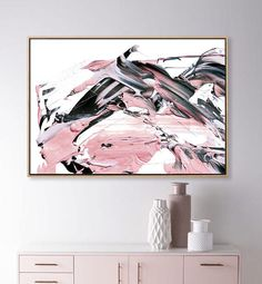 Rosado A Large abstract in light pink, black, grey and subtle navy blue. This is a Printable High-res JPEG. Hand-painted using acrylics on heavy paper. Grey Art, Blue Art, Pink Abstract, Abstract Wall Art, Painting Abstract, Pink Bedroom Decor, Pink Painting, Living Room Art, My New Room