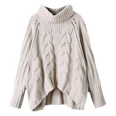 Orion Rolled Neck Chunky Cable Knit Jumper found on Polyvore featuring tops, sweaters, beige, cable jumper, pink cable knit sweater, cable sweater, pink cable sweater and oversized jumper