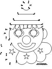 ABC Clown Face dot to dot  activity available at www.makinglearningfun.com.
