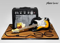 Interactive Fender guitar and amp cake. It plays music!!!
