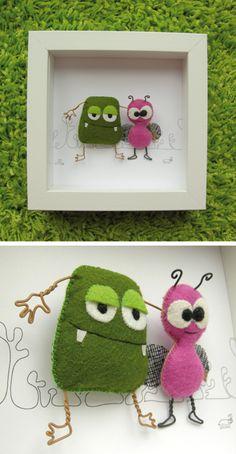 Binome felt monsters in a frame Monster Dolls, Monster Crafts, Felt Monster, Felt Crafts, Fabric Crafts, Diy And Crafts, Arts And Crafts, Softies, Diy For Kids