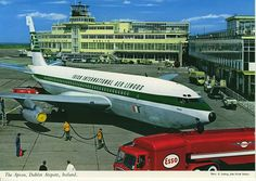 The Apron at Dublin Airport by Elmar Ludwig. A John Hinde postcard of the late with showing the Old Terminal building and Pier A - now the 100 gates on the right. Boeing 720, Boeing Aircraft, Famous Photos, Old Photos, Jets, Illinois, Seattle, Dublin Airport, Dublin Street