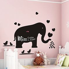 ORDERIN Wall Decal Blackboard Teach Sticker Big Elephant Removable Mural Wall Stickers Art for Children Nursery Home Decor * See this great product.