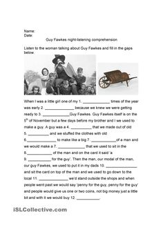 Gapfill Listening Activity: Penny for the Guy / Guy Fawkes / Bonfire Night Money Worksheets, Grammar Worksheets, Active Listening, Listening Skills, English Lessons, Learn English, Penny For The Guy, Guy Fawkes Night, Writing Exercises