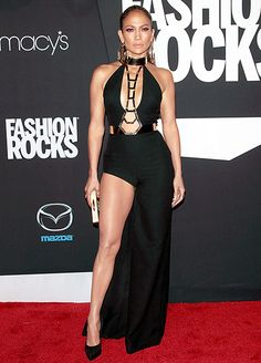 Jennifer Lopez wears Versace to the Fashion Rocks red carpet