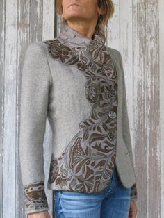 Indalia Fashion - Asian and Italian fabrics combined with Italian tailoring, sweatshirt refashioned similar to this idea Sweatshirt Refashion, Altered Couture, Diy Fashion, Fashion Design, Diy Clothing, Mode Inspiration, Mode Style, Clothes For Women, Rachel Clark